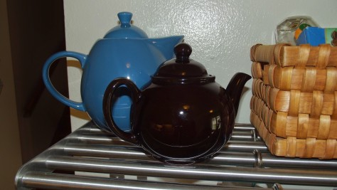 Blue Ceramic and Brown Betty Tea Pots