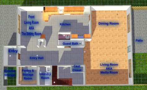 Almost Accurate Representation of Our Floor Plan--Made with The Sims 3
